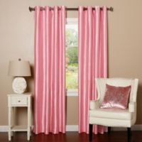 Decorinnovation Solid Faux Silk 84-Inch Blackout Grommet Top Window Curtain Panel Pair in Pink