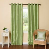 Decorinnovation Solid Faux Silk 84-Inch Blackout Grommet Top Window Curtain Panel Pair in Sage