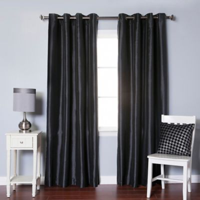 Decorinnovation Solid Faux Silk 84 Inch Blackout Grommet Top Window Curtain  Panel Pair In Black