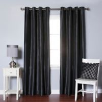 Decorinnovation Solid Faux Silk 84-Inch Blackout Grommet Top Window Curtain Panel Pair in Black