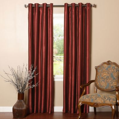Decorinnovation Solid Faux Silk 84 Inch Blackout Grommet Top Window Curtain Panel Pair In Burgundy