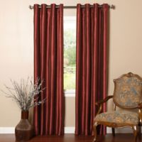 Decorinnovation Solid Faux Silk 84-Inch Blackout Grommet Top Window Curtain Panel Pair in Burgundy