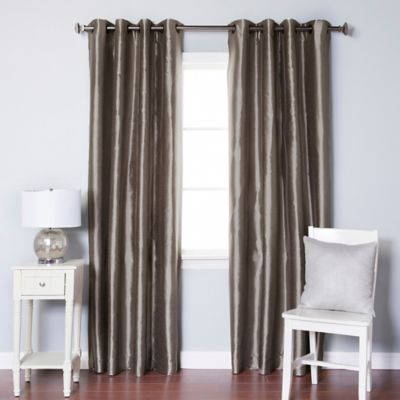 Decorinnovation Solid Faux Silk 84 Inch Blackout Grommet Top Window Curtain Panel Pair In Dark
