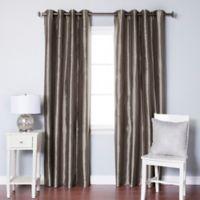 Decorinnovation Solid Faux Silk 84-Inch Blackout Grommet Top Window Curtain Panel Pair in Dark Grey