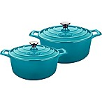 La Cuisine Round Cast Iron 4-Piece Covered Casserole Set in Teal