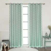 877764092 Decorinnovation Quatrefoil Faux Silk 84-Inch Blackout Grommet Top Window  Curtain Panel in Mint