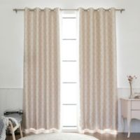 Decorinnovation Quatrefoil Faux Silk 84-Inch Blackout Grommet Top Window Curtain Panel in Champagne