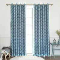 Decorinnovation Quatrefoil Faux Silk 84-Inch Blackout Grommet Top Window Curtain Panel in Blue