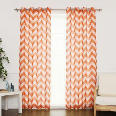 Elegant Decorinnovation Linen Blend Chevron 84 Inch Grommet Top Window Curtain Panel  Pair In Orange