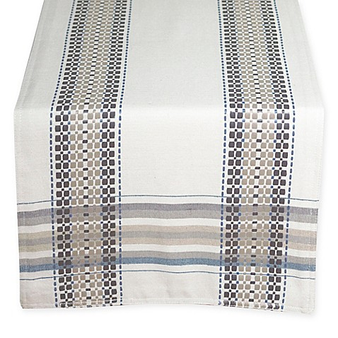 Terra Woven French Picnic Table Runner In Blue Bed Bath