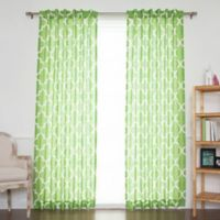 Decorinnovation Moroccan Linen Blend 96-Inch Back Tab/Rod Pocket Window Curtain Panel Pair in Green