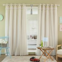 Decorinnovation Sheer Overlay 96-Inch Grommet Top Blackout Window Curtain Panel Pair in Beige