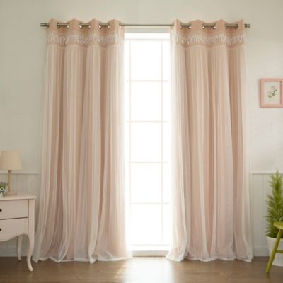 Decorinnovation Sheer Overlay 84 Inch Grommet Top Blackout Window Curtain Panel Pair In Pink