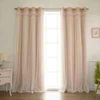 Decorinnovation Sheer Overlay 84-Inch Grommet Top Blackout Window Curtain Panel Pair in Pink