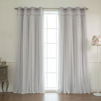 Decorinnovation Sheer Overlay 84 Inch Grommet Top Blackout Window Curtain Panel Pair In Lilac