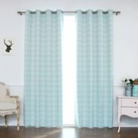 Decorinnovation Houndstooth 84-Inch Grommet Top Window Curtain Panel Pair and Tie Backs in Mint
