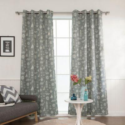 Decorinnovation Maritime 63 Inch Grommet Top Room Darkening Window Curtain Panel Pair In Grey