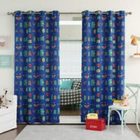 Decorinnovation Monsters 63-Inch Grommet Top Room Darkening Curtain Panel Pair in Royal