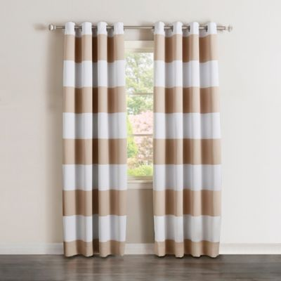 Decorinnovation Rugby Stripe 84 Inch Grommet Top Room Darkening Curtain  Panel Pair in Beige. Buy Kids Sports Room from Bed Bath   Beyond