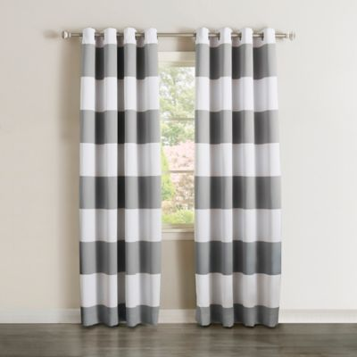 Decorinnovation Rugby Stripe 84 Inch Grommet Top Room Darkening Window  Curtain Panel Pair In Grey