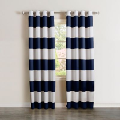 buy blue striped grommet curtain panel from bed bath & beyond