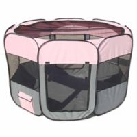 All-Terrain Large Collapsible Travel Pet Playpen in Pink/Grey