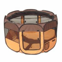 All-Terrain Large Collapsible Travel Pet Playpen in Brown/Orange