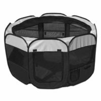 All-Terrain Large Collapsible Travel Pet Playpen in Black/White