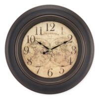 Equity World Map Wall Clock in Brown