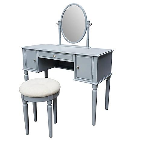 Buy Bella Vanity And Stool Set In Grey From Bed Bath Amp Beyond