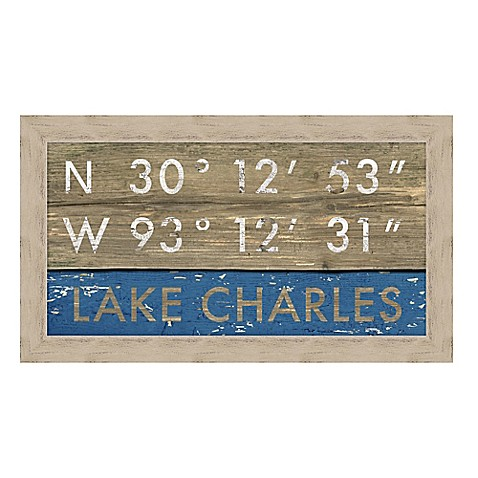 Lake Charles Louisiana Coordinates Framed Wall Art Bed Bath Beyond