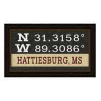 Hattiesburg Mississippi Coordinates Framed Wall Art