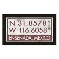 Framed Giclée Ensenada, Mexico Coordinates Print Wall Art