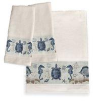 Laural Home® Seaside Postcard Bath Towel in Blue