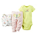 carter's® Size 3M 3-Piece Babysoft Butterfly Bodysuit and Pant Set