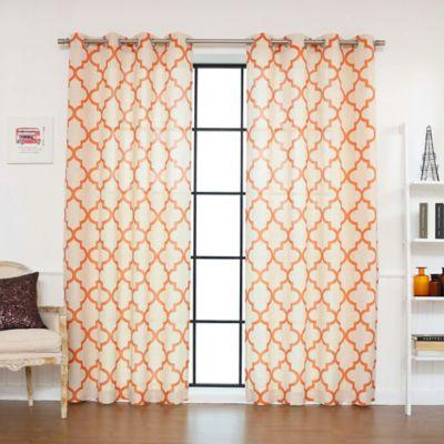 Decorinnovation Reverse Moroccan Linen Blend 84 Inch Grommet Top Window  Curtain Panel Pair In Orange