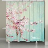 Laural HomeR Cherrry Blossoms Shower Curtain In Pink Blue
