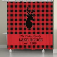 Laural HomeR Buffalo Check Shower Curtain In Red Black