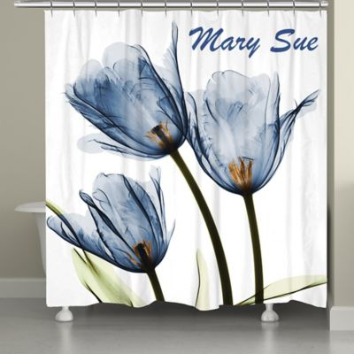Laural Home® Tulip Shower Curtain In Blue/White