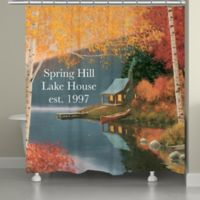 Laural Home® Quiet Evening Shower Curtain in Blue/Orange