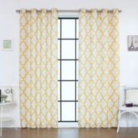 Decorinnovation Reverse Moroccan Linen Blend 96-Inch Grommet Top Window Curtain Panel Pair in Yellow