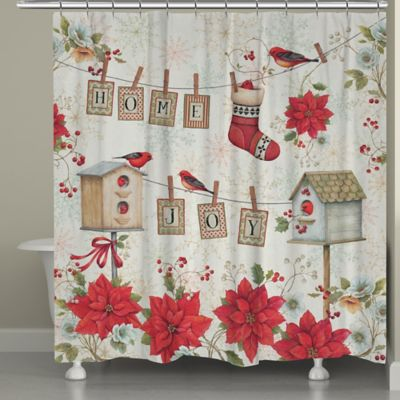 Laural Home Holiday Wings Shower Curtain In Red White