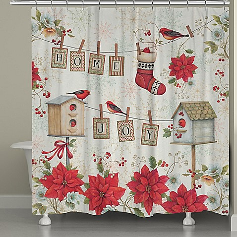 laural home holiday wings shower curtain in red white bed bath beyond. Black Bedroom Furniture Sets. Home Design Ideas