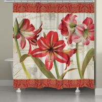 Laural Home Holiday Garden Shower Curtain in Red/Green