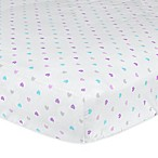 Gerber® Little Hearts Fitted Crib Sheet in Purple/Teal