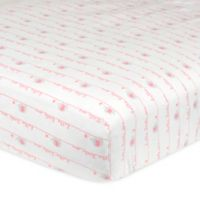 """Gerber® """"Hello Little One"""" Fitted Crib Sheet in Pink/Grey"""
