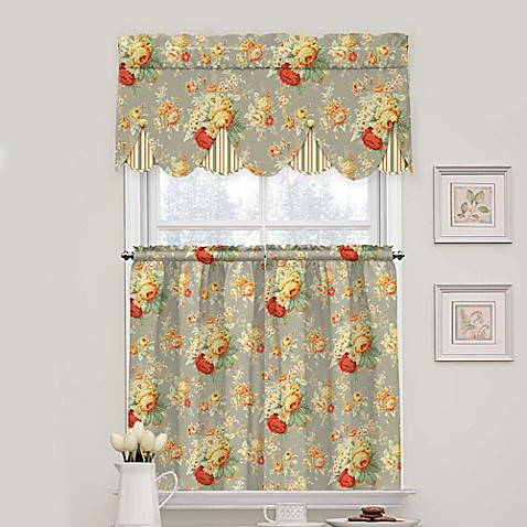 Waverly Sanctuary Rose Peek A Boo Cotton Valance And Tier