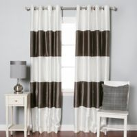 Decorinnovation Striped 84-Inch Room-Darkening Grommet Top Window Curtain Panel Pair in Dark Grey