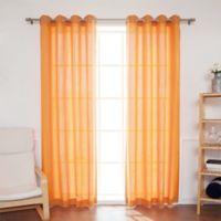 Decorinnovation Oxford 84-Inch Grommet Top Outdoor Curtain Panel Pair in Orange