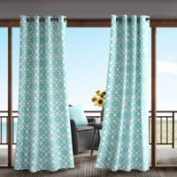 Madison Park Daven 84-Inch 3M Scotchgard™ Grommet Top Outdoor Curtain Panel in Aqua